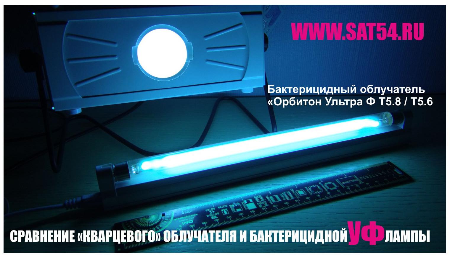 """Сравнение диаграмм направленности и световых потоков бактерицидного облучателя Orbiton Ультра Ф-58 и классического кварцевого облучателя типа """"Слонышко"""", """"Катунь"""" и ОУФК-1 /ОУФК-4. Как вы видите из фотографии - УФ облучатель Орбитон Ультра Т58 выигрывает в площади освещенности, соответственно и бактерицидный эффект от него будет значительно выше."""