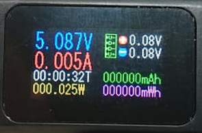 Экран 1. USB тестера во время его работы. Все параметры на одном экране