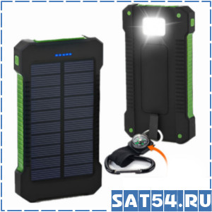 Аккумулятор на солнечной батареи 20000mAh (фонарь)