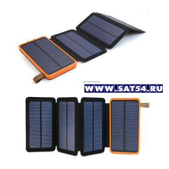 """Мощный Power Bank (внешний аккумулятор) 10.000мА """"3в1"""" с 4мя солнечными батареями и LED фонарем."""