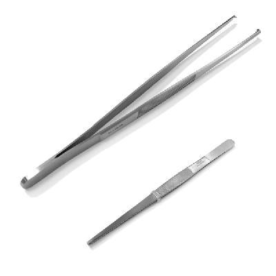 Пинцет прямой 145 мм (зубч/Хир.сталь)